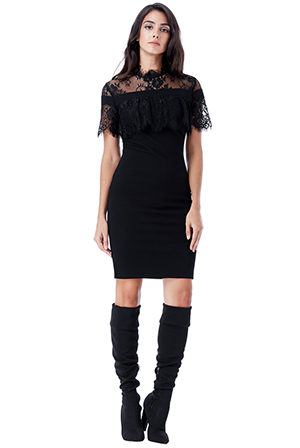 Wholesale-High-Neck-Fitted-Lace-Dress