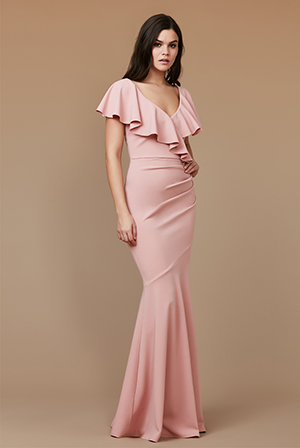 Wholesale-Frilled-V-Neckline-Maxi-Dress