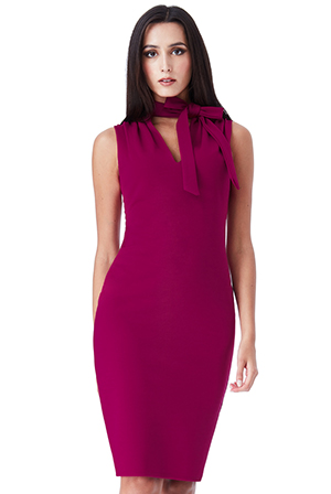 Wholesale-Tie-Collar-V-Neck-Midi-Dress