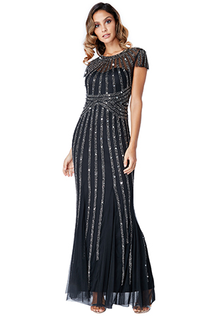 Wholesale-Sunray-Embellished-Maxi-Dress