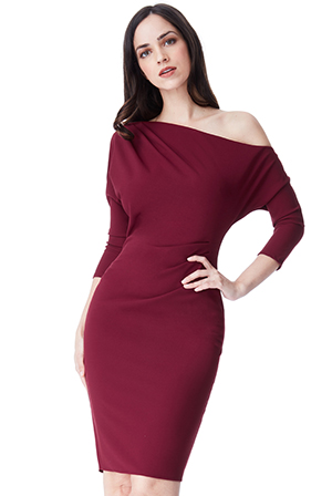 Wholesale-One-Shoulder-Pleated-Midi-Dress-with-Sleeves