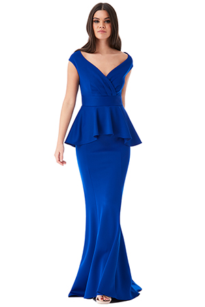 Wholesale-Off-the-Shoulder-Maxi-Dress-with-Peplum-Detail