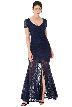Wholesale-Deep-V-Neckline-Lace-Maxi-Dress-with-Short-Sleeves
