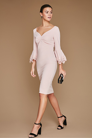 Wholesale-Bell-Sleeved-Midi-Dress-With-Floral-Detail