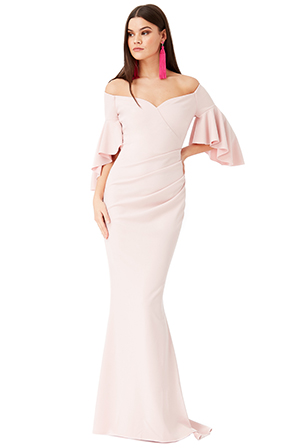 Wholesale-Off-The-Shoulder-Maxi-Dress-with-Short-Frilled-Sleeves