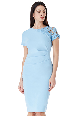 Wholesale-Fitted-Pleated-Midi-Dress-with-Lace-Detail