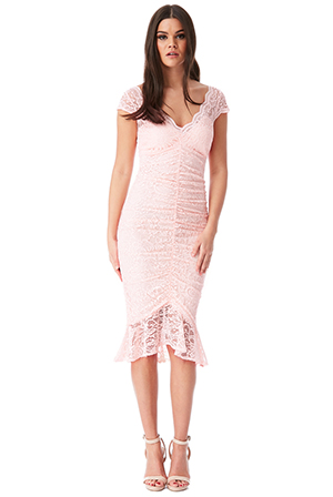 Wholesale-V-Neck-Lace-Midi-Dress-with-Frilled-Hem