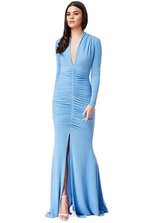 Wholesale-Long-Sleeved-Ruched-Front-Glitter-Maxi-Dress