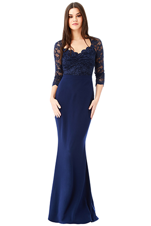 Wholesale-Lace-Bodice-Maxi-Dress-with-Sleeves