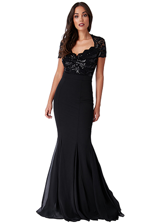 Wholesale-Sequin-and-Lace-Scalloped-Neckline-Maxi-Dress