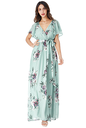 Wholesale-Silky-Chiffon-Deep-V-Neck-Butterfly-Sleeve-Maxi-DR1582A
