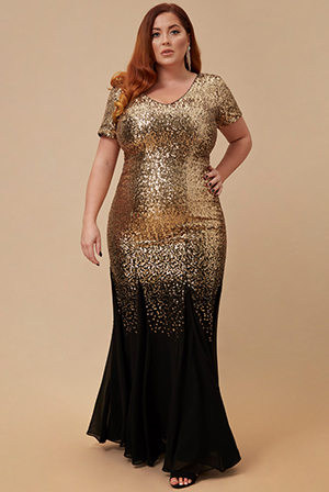Wholesale-Plus-Size-Sequin-and-Chiffon-Short-Sleeve-V-Neck-Maxi-Dress