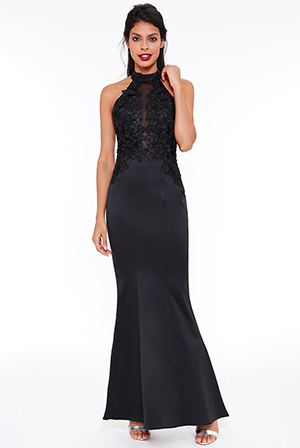 Wholesale-Halter-Neck-Embroidered-Maxi-Dress