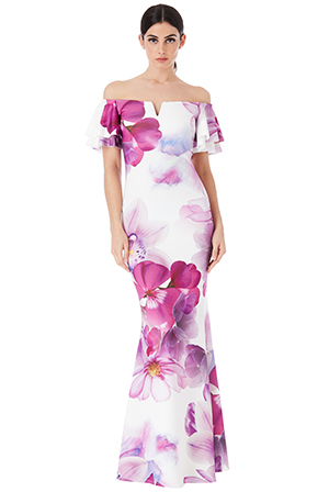 Wholesale-Summer-Floral-Bardot-Maxi-Dress