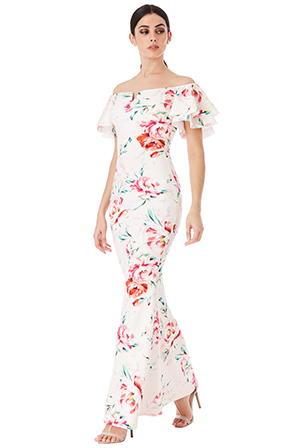 Wholesale Floral Print Bardot Maxi Dress with Ruffle Sleeves