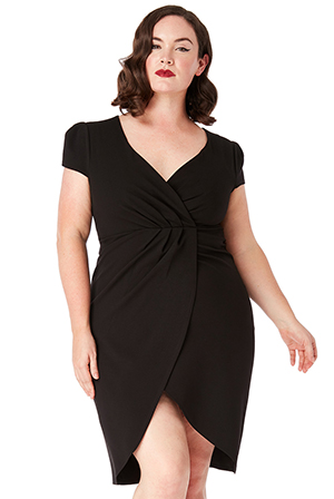 Wholesale-Plus-Size-Front-Pleat-Tulip-Midi-Dress