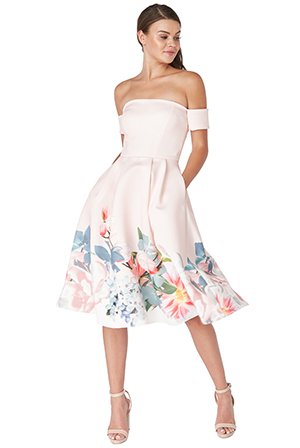 Off-the-shoulder-printed-midi-dress-with-armband-sleeves