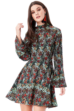 Wholesale-Floral-Print-A-line-Mini-Dress-with-High-Neck