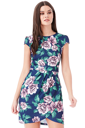 Wholesale-Floral-Print-Mini-Dress-With-Tie-Detail