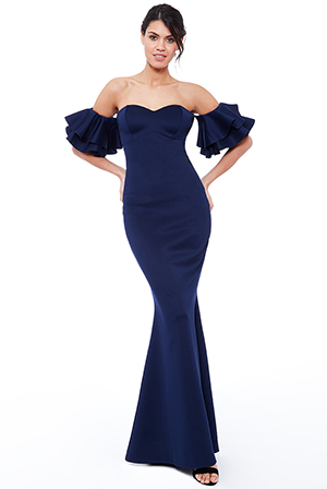 Wholesale-Off-the-Shoulder-Ruffle-Sleeve-Maxi-Dress