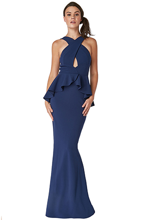 Wholesale-Peplum-Maxi-Dress-With-Criss-Cross-Straps