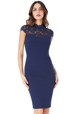 Wholesale-Open-Back-High-Neck-Midi-Dress-with-Lace-Detail