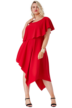 Wholesale-Plus-Size-One-Shoulder-Midi-Dress-with-Asymmetric-Hem
