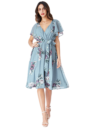Wholesale-Floral-Print-Midi-Dress-with-Flutter-Sleeves