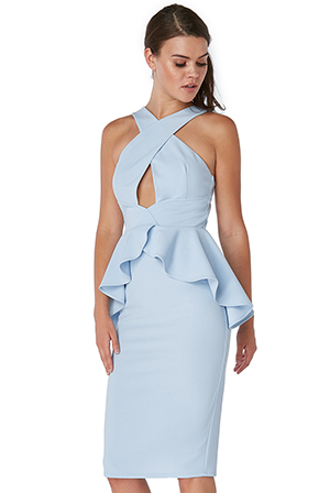 Wholesale-Peplum-Midi-Bodycon-Dress-With-Criss-Cross-Straps