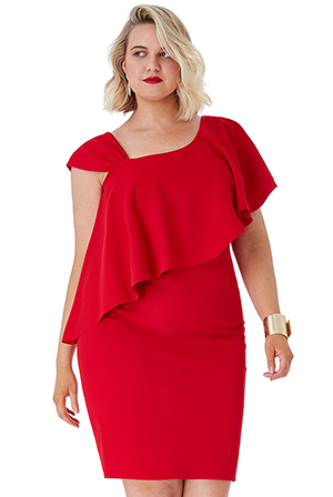Wholesale-Plus-Size-One-Shoulder-Frilled-Midi-Dress