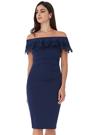 Wholesale-Bardot-Embroidered-Frill-Midi-Dress