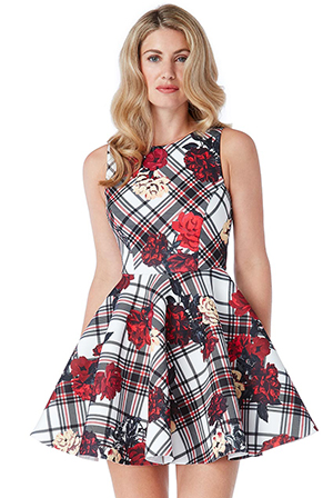 Wholesale-Floral-and-Tartan-Skater-Dress