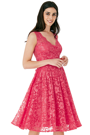 Wholesale-V-Neck-Lace-Skater-Dress-with-Open-Back