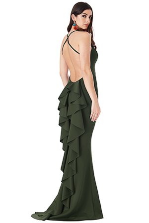 Wholesale-Fishtail-Maxi-Dress-with-Open-Back-and-Waterfall-Frills-DR1695