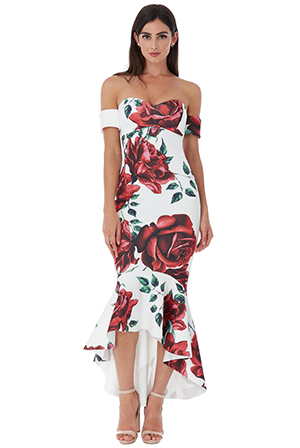 Wholesale-Rose-Print-Fishtail-Midi-with-Sweetheart-Neckline