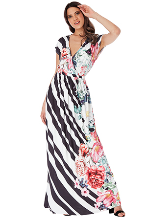 Wholesale-Floral-and-Stripe-Print-Maxi-Dress
