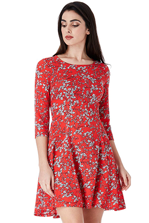 Wholesale-Floral-Print-Smock-Mini-Dress-with-Sleeves