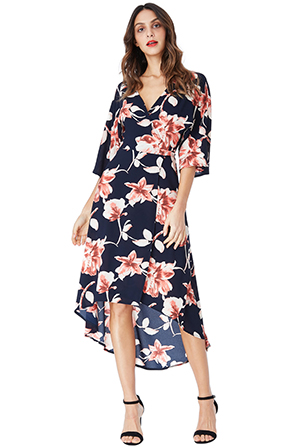 Wholesale-Floral-Print-Midi-Wrap-Dress