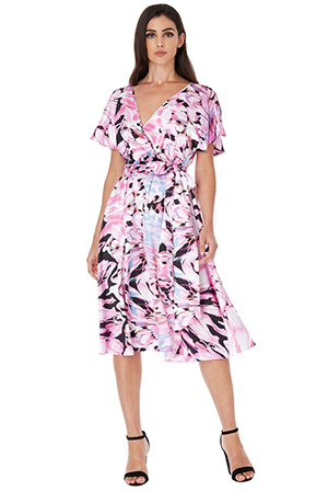 Wholesale-Satin-Printed-Flutter-Sleeve-Midi-Dress-with-Belt