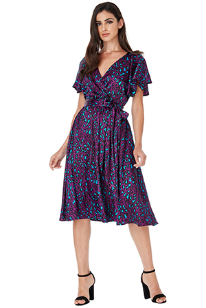 Wholesale-Satin-Animal-Print-Midi-Dress-with-Flutter-Sleeves
