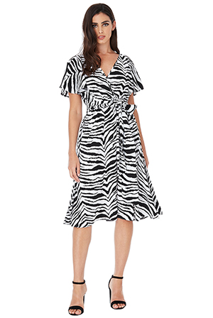 Wholesale-Satin-Zebra-Print-Midi-Dress-with-Flutter-Sleeves