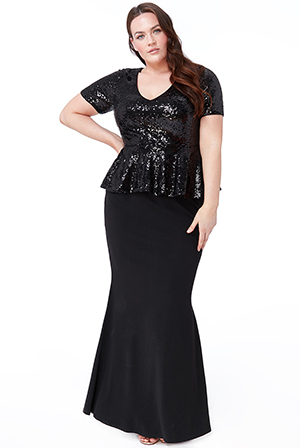Wholesale-Plus-Size-Sequin-V-Neck-Maxi-Dress-with-Peplum-Frill