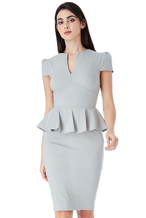 Wholesale-Deep-V-Peplum-Dress