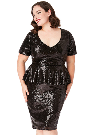 Wholesale-Plus-Size-Sequin-V-Neck-Midi-Dress-with-Peplum-Frill