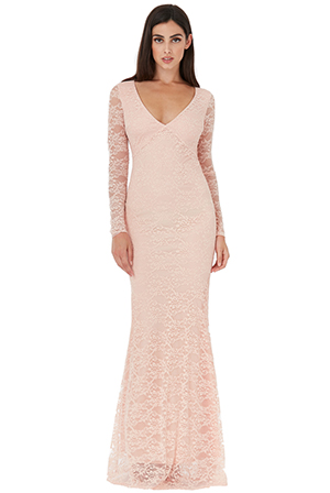 Plunge-Open-Back-Lace-Maxi-with-Sleeves