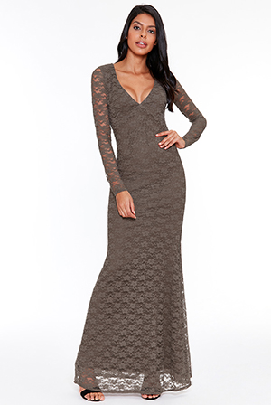 Wholesale-Plunge-Open-Back-Lace-Maxi-with-Sleeves