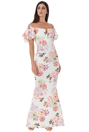 Wholesale-Off-The-Shoulder-Floral-Maxi-Dress-with-Ruffled-Sleeves