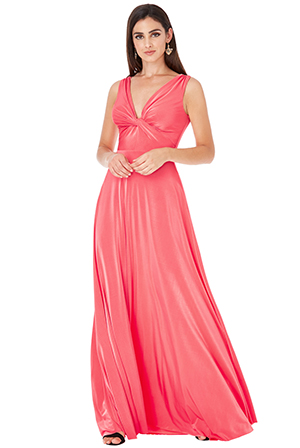 Wholesale-Sleeveless-Maxi-Dress-with-Front-Knot