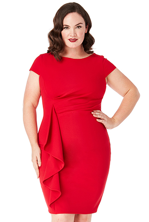 Wholesale-Plus-Size-Front-Frill-Midi-Dress