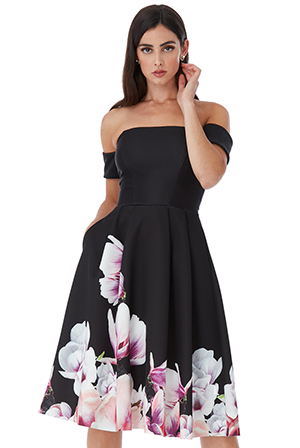 Off-the-shoulder-floral-midi-dress-with-Arm-band-sleeves